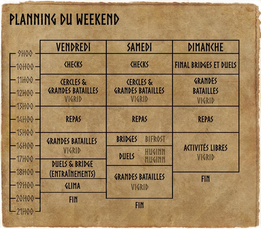 Planning du weekend